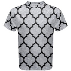 Tile1 Black Marble & Silver Glitter Men s Cotton Tee