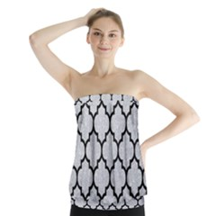 Tile1 Black Marble & Silver Glitter Strapless Top