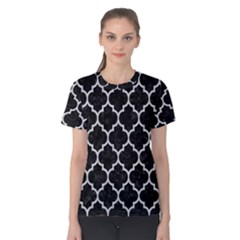 Tile1 Black Marble & Silver Glitter (r) Women s Cotton Tee