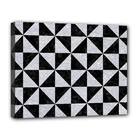 Triangle1 Black Marble & Silver Glitter Canvas 14  X 11