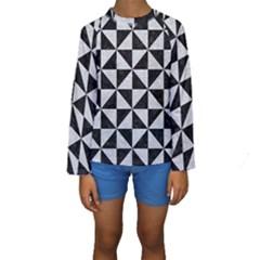 Triangle1 Black Marble & Silver Glitter Kids  Long Sleeve Swimwear