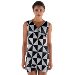 Triangle1 Black Marble & Silver Glitter Wrap Front Bodycon Dress