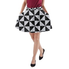 Triangle1 Black Marble & Silver Glitter A Line Pocket Skirt