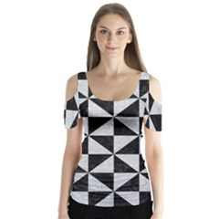 Triangle1 Black Marble & Silver Glitter Butterfly Sleeve Cutout Tee