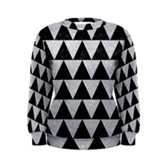 Triangle2 Black Marble & Silver Glitter Women s Sweatshirt