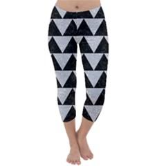 Triangle2 Black Marble & Silver Glitter Capri Winter Leggings