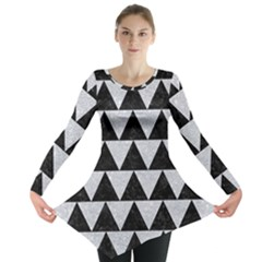 Triangle2 Black Marble & Silver Glitter Long Sleeve Tunic