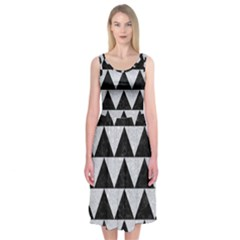 Triangle2 Black Marble & Silver Glitter Midi Sleeveless Dress