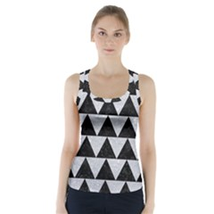Triangle2 Black Marble & Silver Glitter Racer Back Sports Top