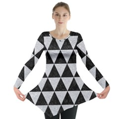 Triangle3 Black Marble & Silver Glitter Long Sleeve Tunic
