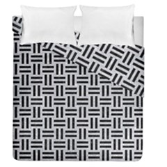 Woven1 Black Marble & Silver Glitter Duvet Cover Double Side (queen Size)