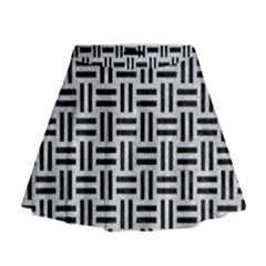 Woven1 Black Marble & Silver Glitter Mini Flare Skirt