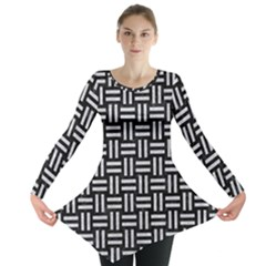 Woven1 Black Marble & Silver Glitter (r) Long Sleeve Tunic