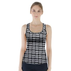 Woven1 Black Marble & Silver Glitter (r) Racer Back Sports Top