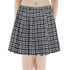 Woven1 Black Marble & Silver Glitter (r) Pleated Mini Skirt