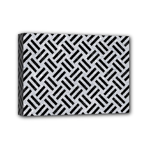 Woven2 Black Marble & Silver Glitter Mini Canvas 7  X 5