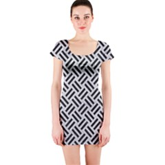Woven2 Black Marble & Silver Glitter Short Sleeve Bodycon Dress
