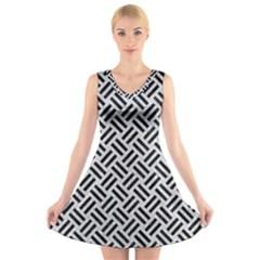 Woven2 Black Marble & Silver Glitter V Neck Sleeveless Skater Dress