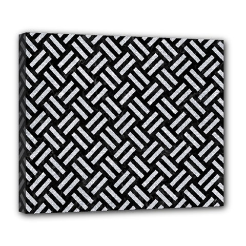 Woven2 Black Marble & Silver Glitter (r) Deluxe Canvas 24  X 20
