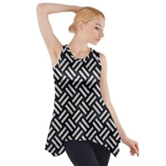 Woven2 Black Marble & Silver Glitter (r) Side Drop Tank Tunic
