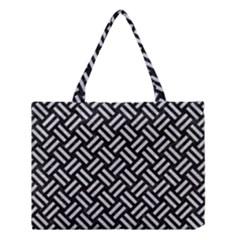 Woven2 Black Marble & Silver Glitter (r) Medium Tote Bag