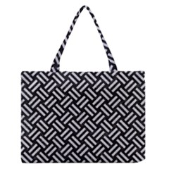 Woven2 Black Marble & Silver Glitter (r) Zipper Medium Tote Bag