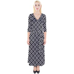 Woven2 Black Marble & Silver Glitter (r) Quarter Sleeve Wrap Maxi Dress