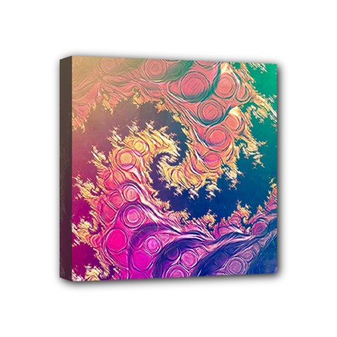 Rainbow Octopus Tentacles In A Fractal Spiral Mini Canvas 4  X 4