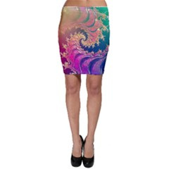 Rainbow Octopus Tentacles In A Fractal Spiral Bodycon Skirt