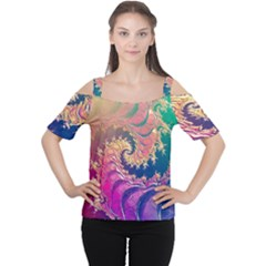 Rainbow Octopus Tentacles In A Fractal Spiral Cutout Shoulder Tee
