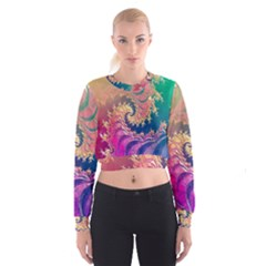 Rainbow Octopus Tentacles In A Fractal Spiral Cropped Sweatshirt