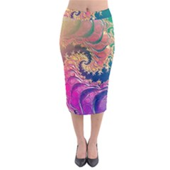 Rainbow Octopus Tentacles In A Fractal Spiral Midi Pencil Skirt