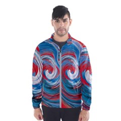 Red And Blue Rounds Wind Breaker (men)