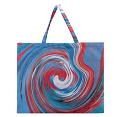 Red And Blue Rounds Zipper Large Tote Bag
