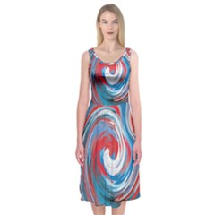 Red And Blue Rounds Midi Sleeveless Dress