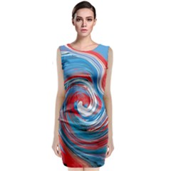 Red And Blue Rounds Classic Sleeveless Midi Dress