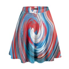 Red And Blue Rounds High Waist Skirt