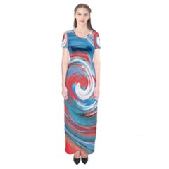 Red And Blue Rounds Short Sleeve Maxi Dress