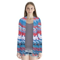 Red And Blue Rounds Drape Collar Cardigan