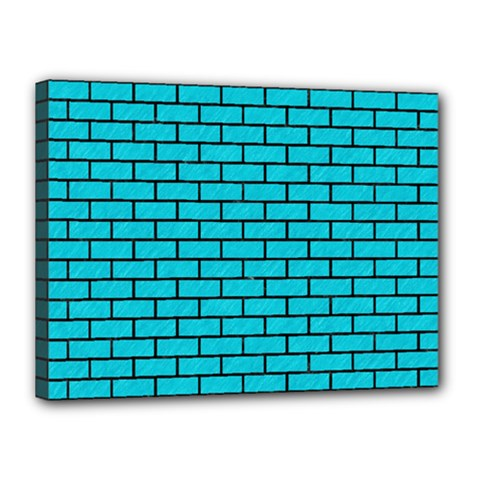 Brick1 Black Marble & Turquoise Colored Pencil Canvas 16  X 12