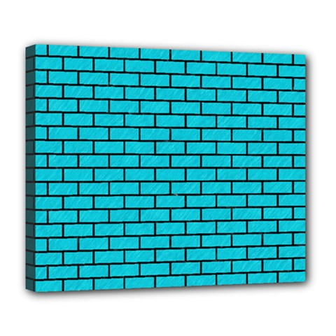 Brick1 Black Marble & Turquoise Colored Pencil Deluxe Canvas 24  X 20