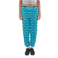 Brick1 Black Marble & Turquoise Colored Pencil Women s Jogger Sweatpants