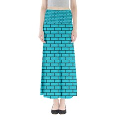 Brick1 Black Marble & Turquoise Colored Pencil Full Length Maxi Skirt