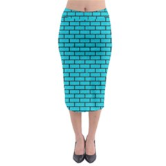 Brick1 Black Marble & Turquoise Colored Pencil Midi Pencil Skirt