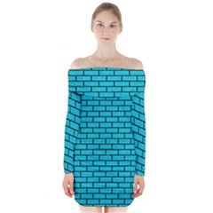 Brick1 Black Marble & Turquoise Colored Pencil Long Sleeve Off Shoulder Dress
