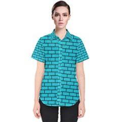 Brick1 Black Marble & Turquoise Colored Pencil Women s Short Sleeve Shirt