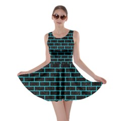 Brick1 Black Marble & Turquoise Colored Pencil (r) Skater Dress