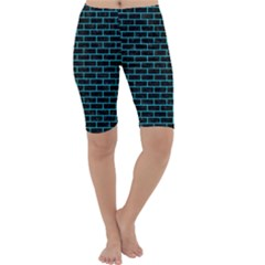 Brick1 Black Marble & Turquoise Colored Pencil (r) Cropped Leggings