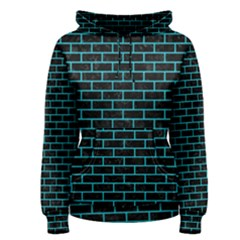 Brick1 Black Marble & Turquoise Colored Pencil (r) Women s Pullover Hoodie