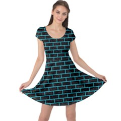 Brick1 Black Marble & Turquoise Colored Pencil (r) Cap Sleeve Dress